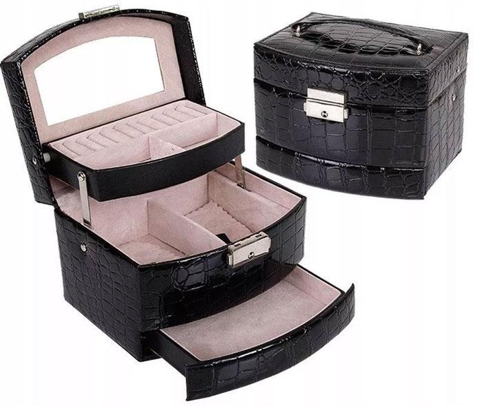 Kuferek szkatułka organizer na biżuterię, zegarki