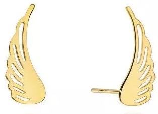 Złote kolczyki skrzydła na sztyft Virino