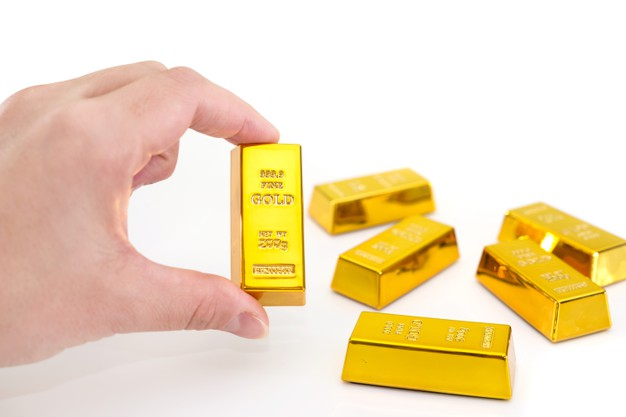 Sztabka złota lub złota moneta