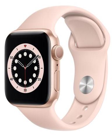 Smartwach damski Apple Watch 6 Koperta 40 mm Złota Aluminium z Paskiem sportowym Różowym (MG123WBA)