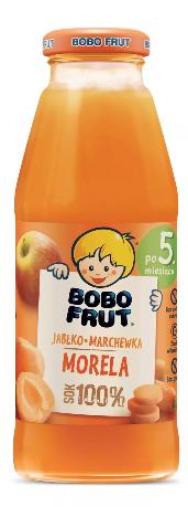 Bobo Frut Sok 100% Jabłko Marchewka Morela dla niemowląt po piątym Miesiącu 300 ml