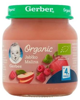 Deserek dla niemowląt Gerber Organic Jabłko Malina po 4 Miesiącu 125g