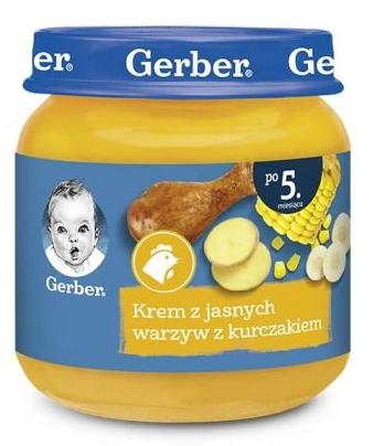 Obiadek dla niemowląt Gerber Zupka Krem Z Jasnych Warzyw Z Kurczakiem po 5 Miesiącu 125g