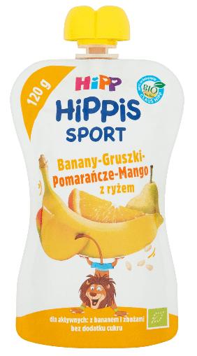 Hipp Bio Hippis Sport Banany Gruszki Pomarańcze i Mango Z Ryżem Mus Owocowy Po 12 Miesiącu 120g