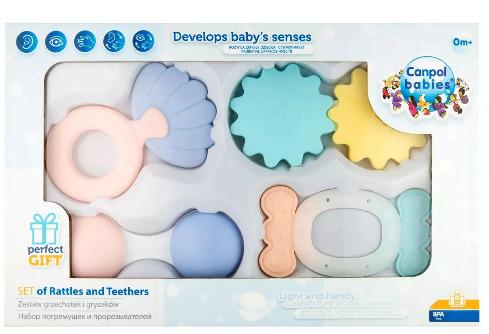 Grzechotka Canpol Babies Zestaw Pierwszych Grzechotek Pastel (79/401)