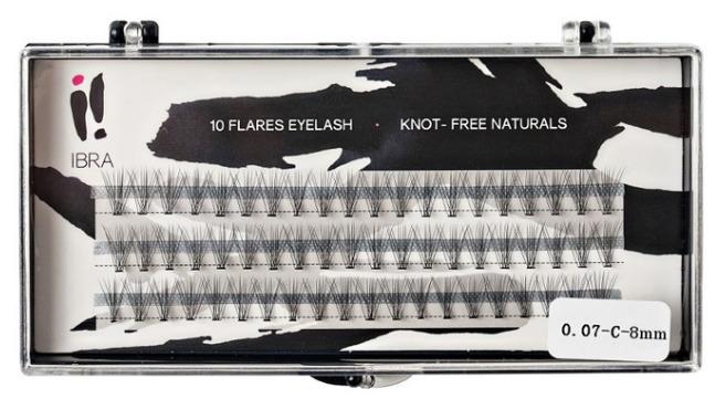 Sztuczne rzęsy Ibra Double Flares Eyelash Knot Free Naturals Kępki podwójnej objętości 8 mm